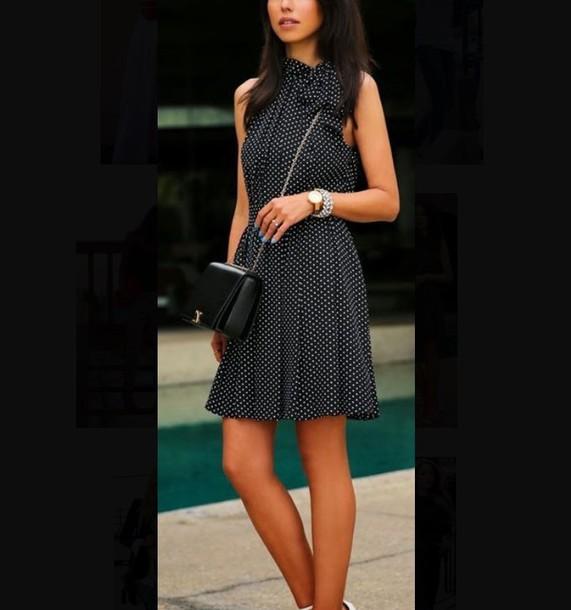 dress polka dot dress spring work dress summer work dress mini dress black and white polka dots