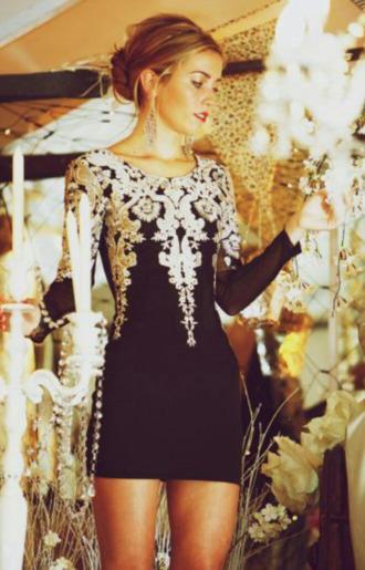 dress little black dress black lace trim nave classy