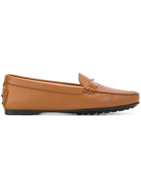 TOD'S women loafers leather brown shoes