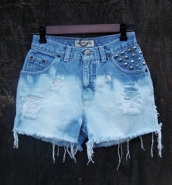 bleached high waisted shorts vintage blue by GloriousMorn