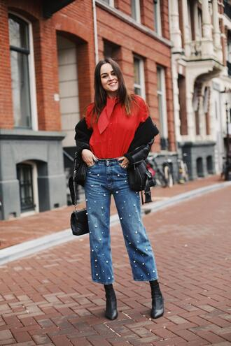 style scrapbook blogger blouse jeans shoes jacket bag red shirt spring outfits shoulder bag biker jacket leather jacket beaded jeans
