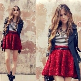 skirt rose skirt red skirt flare skirt roses