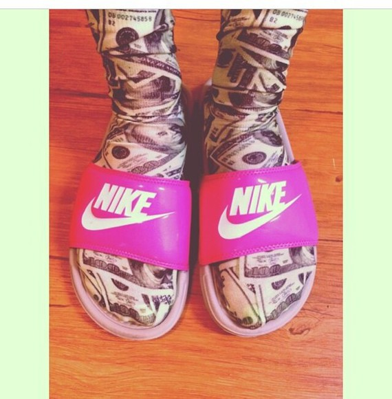 nike shoes socks money money print nike slides