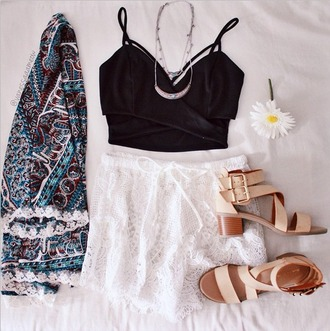 top black crop tops black top kimono colorful cute teenagers crochet grunge hipster girly crochet short white shorts lace sandals shoes floral flowers brown lace trimmed cardigan