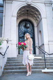 late afternoon,blogger,sweater,skirt,shoes,jewels,bag,nude sweater,midi skirt,handbag,white bag,fall outfits