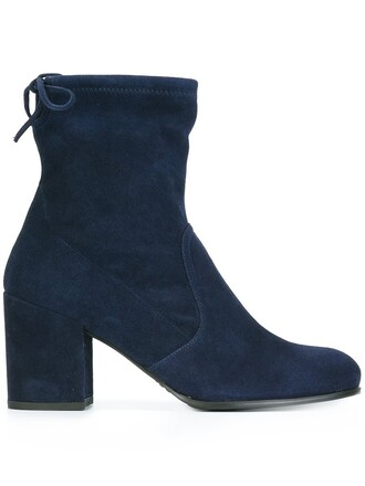 women boots ankle boots leather blue shoes