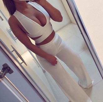 pants white pants top white crop tops white white top