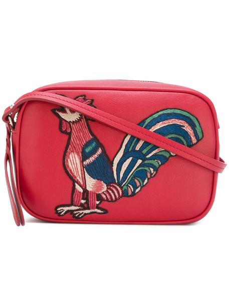 embroidered women bag shoulder bag cotton red