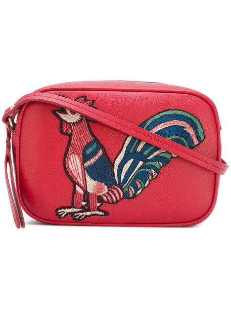 Alexander Mcqueen embroidered women bag shoulder bag cotton red