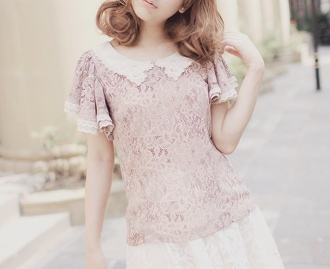 blouse pink lace kawaii korea pale