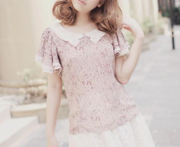 blouse pink lace kawaii korean fashion pale