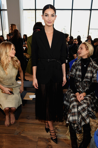 skirt sheer midi skirt jacket blazer fashion week 2015 lily aldridge black