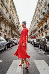 song of style,blogger,dress,shoes,red dress,red heels,high heel pumps,spring outfits,spring dress