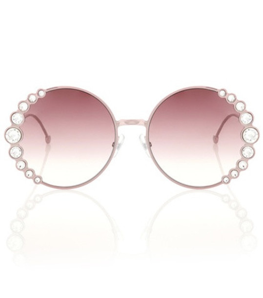 embellished sunglasses round sunglasses pink