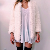 dress,fluffy,gemstone,fuzzy coat,coat,beige dress,girly wishlist,fur,fur coat,jacket,white dress,knee high socks,pale,tumblr,hipster,clothes,socks,bracelets,necklace,nails,blouse,white,fashion,faux fur coat,furry coat,cream,knee high,jewelry,silk,cute dress,girly,cute,short dress,sexy,posh,style,boho,indie,cardigan,tumblr outfit,tumblr girl,clueless,jewels,faux fur,faux fur jacket,faux fur vest,winter jacket,winter coat,pink,winter sweater,sweater,mini dress,pendant,white fluffy coat,fur jacket,white coat,white jacket,tumblr jacket,faux white fur,black socks,white fuzzy,teddy bear coat,oversized jacket,furry jacket