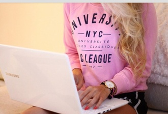 school uniform back to school sweater pink cute university girly top jacket new york city crewneck sweatshirt shirt crew new york university fashion casual