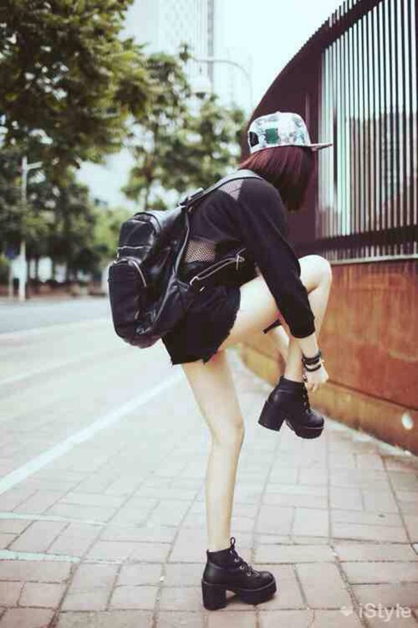shoes black kawaii kawaii grunge tumblr platform shoes grunge outfit black chunky boots