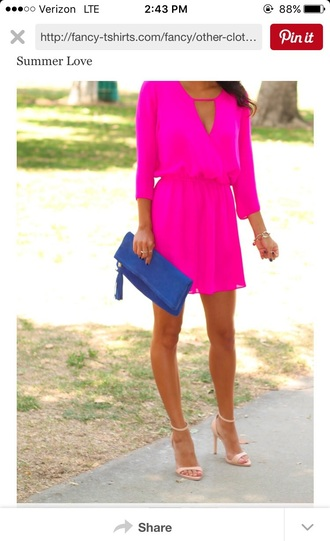 dress pink hot pink bright pink neon pink neon short dress summer dress