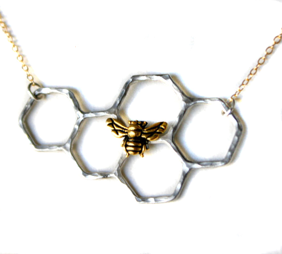 Honeycomb necklace with perched bee on 14k gold fill chain