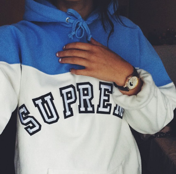 """Supreme """"Logo Contrast"""" Hoodies Collection (White/Blue)"""