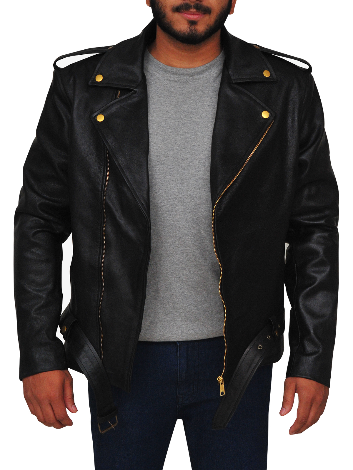 Classic Black Brando Leather Jacket With Golden Bottons | MauveTree |