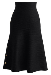 skirt,studs waffle knit midi skirt in black,chicwish,chicwish skirt,black skirt,midi skirt