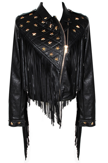 Tassel fringe star leather black jacket assymetrical zipper assymetric