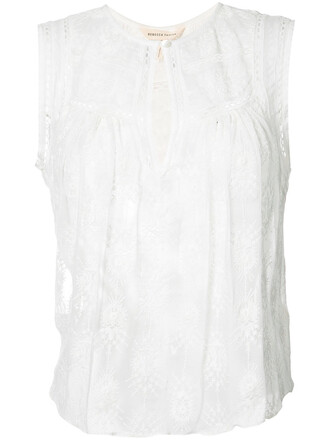 top embroidered women white cotton silk
