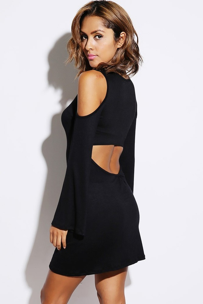 Black Cold Shoulder Cut Out Back Bell Sleeve Mini Dress / La Boutique