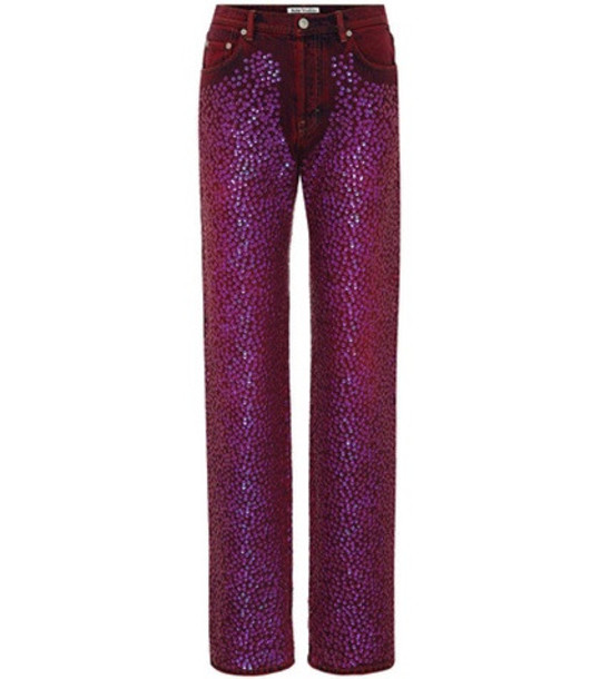 Acne Studios Tisi high-waisted sequinned jeans in purple
