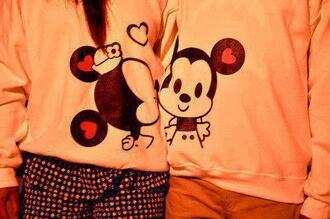 sweater couple sweaters minnie and mickey matching couples tumblr minnie mouse mickey mouse jacket shirt