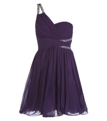 Purple Embellished Cut Out One Shoulder Prom Dress