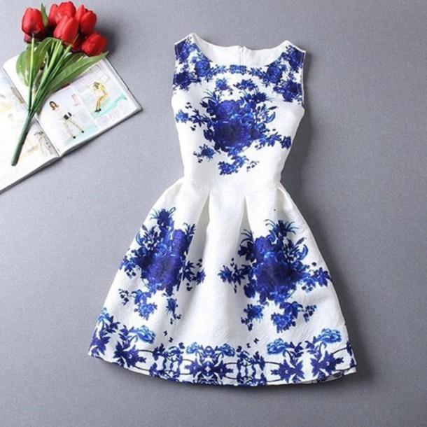 Printing embossing of blue and white porcelain dress sundress