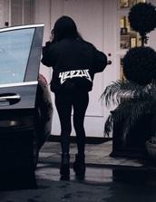jacket,yeezy,yeezus,black,bomber jacket,t-shirt,clothes,celberities,shoes,boots,black jacket,timberlands