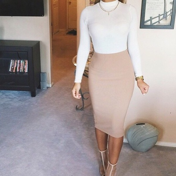 Natural Faux Suede Midi Pencil Skirt