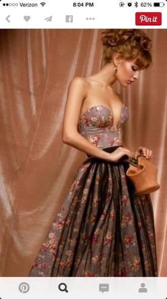 dress sweetheart bustier floral dress plunge a line dress grey dress prom dress