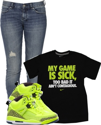 t-shirt retro jordans skinnies neon black green