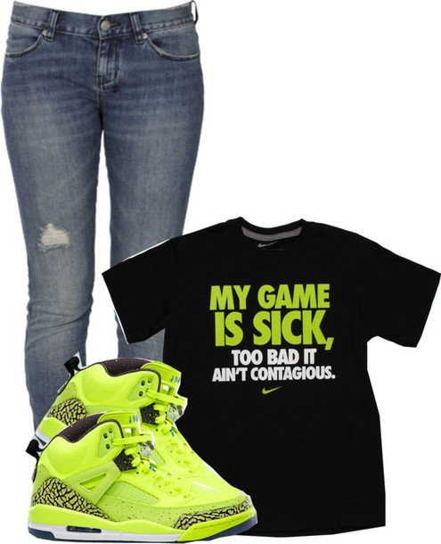 t-shirt retro jordans skinnies neon black green shoes jeans shirt neon green nike nike shirts denim boyfriend jeans ripped destressed just do it white graphic tee dope urban sneakers ripped jeans skinny jeans back to school outfit idea lime