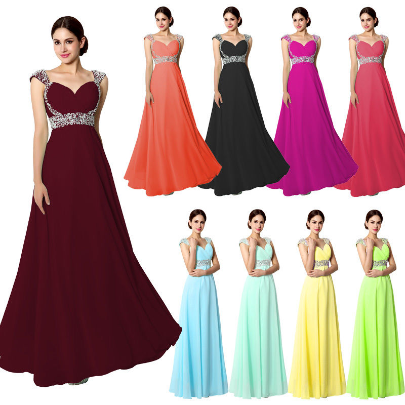 Plus Size Chiffon Long Formal Evening Prom Gown Bridesmaid Party ...