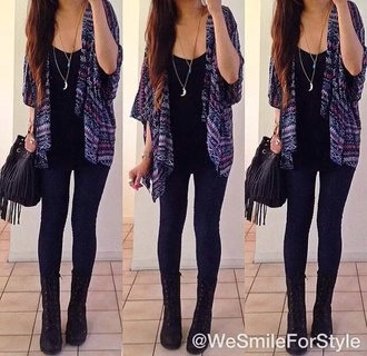 sweater cardigan boots jeans pants tank top blue shoes jewels kimono black boots black bag print dark stripes tribal pattern jacket