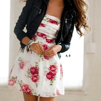 floral dress cute dress white dress roses jacket