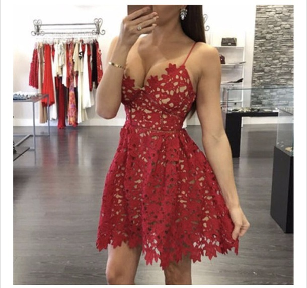 dress red lace short