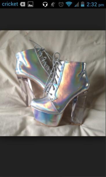 shoes holohraphic jeffrey campbell lita clear heels