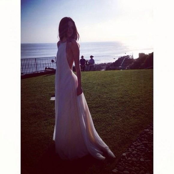 dress backless elegant low back white long dress classic