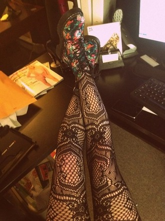 stockings tights lacey drmartens floral