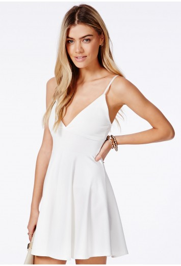 4a91653f3b4a Missguided - Herta White Strappy Skater Dress