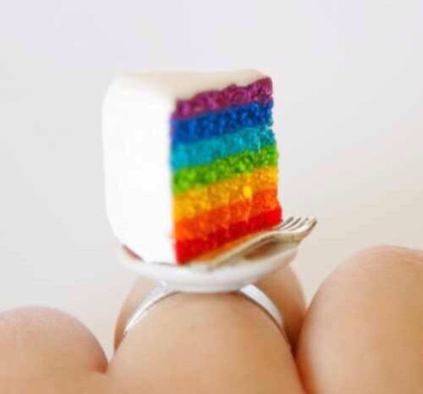 jewels ring cake food rainbow cake jewelry jewels funny