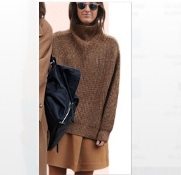 sweater jumper turtle turtleneck brown knit style stylish warm comfy high neck oversized