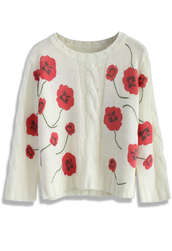 sweater,chicwish,cable knit,top,floral