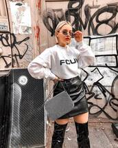 top,sweatshirt,fcuk,logo sweatshirt,black glossy boots,thigh high boots,clutch,pleather skirt,black skirt